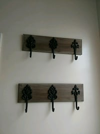 two black-and-brown wooden wall hooks Naperville, 60563