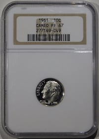 1961 Roosevelt Dime Proof NGC PF-67 CAMEO  Fort Lee, 07024