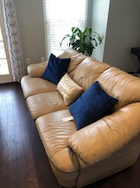 Brown fabric 3-seat sofa
