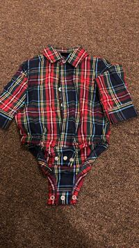 blue and red plaid onesie