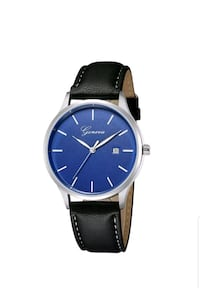 round silver analog watch with black leather strap Toronto, M1R 2Y1