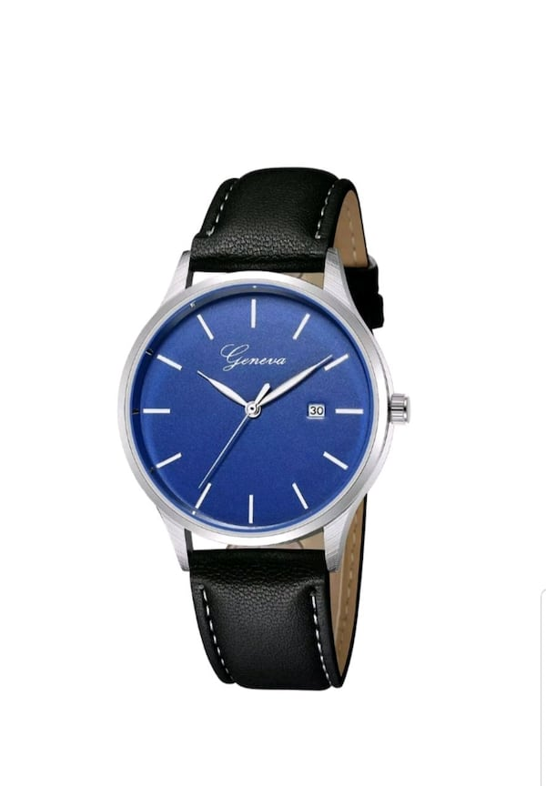 round silver analog watch with black leather strap 226bc55d-52eb-4f98-a560-de32ee0f281c