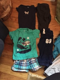 6 month boys. One pair shorts with matching shirt. One onesie. Two pair sweatpants. All from Carters Milton, 19968