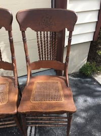 Vintage pressed back rope spindle cane bottom wood dining chairs (set of 4) 285 mi