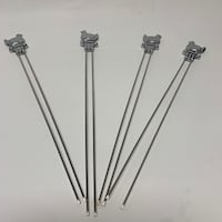 4 stainless BBQ double pronged skewers