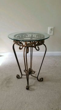 round metal framed glass-top side table Norcross, 30071
