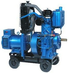 blue and black diesel generator