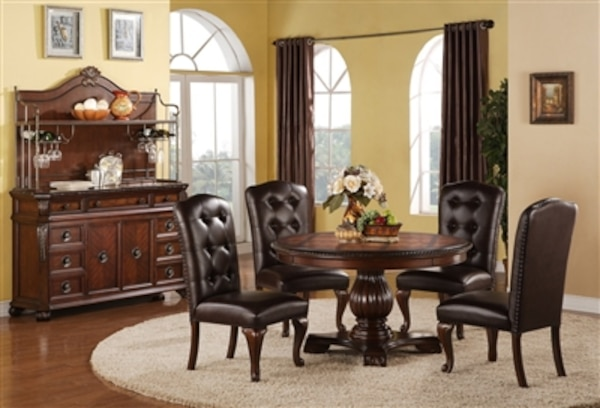 Hemingway Collection Round Formal 5 Piece Brown Cherry Dining Set NO CREDIT CHECK