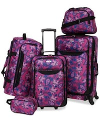 Purple and pink floral five piece luggage set East Point, 30344