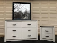 Long Dresser With Mirror and Nightstand White With Black Top  Manassas, 20112
