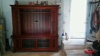 brown wooden framed glass cabinet CASSELBERRY