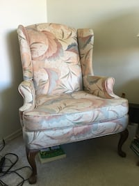 white and brown floral wing chair Las Vegas, 89134