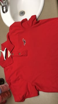 red Hollister polo shirt