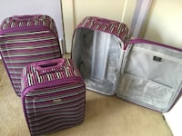 3 Piece Striped Luggage Set Silver Spring