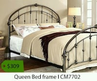 queen gray beige bed frame Whittier