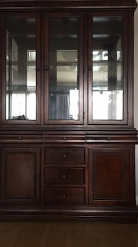 Brown wooden framed glass China  cabinet Burbank, 91502