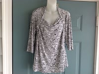 Women's white and black long-sleeved blouse Perryville