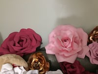 Beautiful paper flowers. Different sizes and colors. Only $110 for all 21 flowers. Serious buyers only. Good quality paper. Custom made. Buena Park, 90620