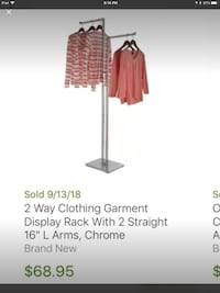 Two ways Straight Arms Clothing Rack. 2 Available. Price is for each Houston, 77055