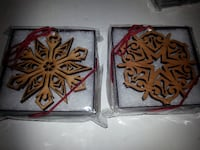 Lot of 2 Laser cut SNOWFLAKE ORNAMENTS wooden detailed christmas NEW Rockville
