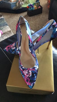 pair of blue and pink floral platform stilettos Coventry, 02816