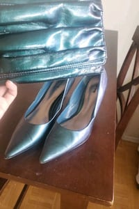 heels and matching clutch