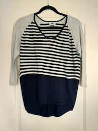 grey and black stripe scoop neck long sleeve shirt