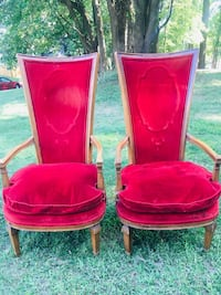 TWO Tall Back Walnut & Red Velvet Original Upholstered Chairs (OBO) Silver Spring