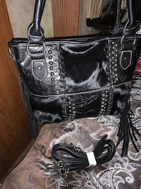 Genuine cowhide on leather concealed carry purse NWT
