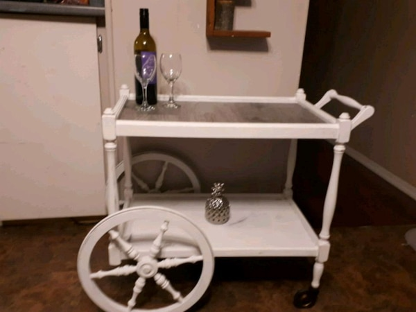 white and black wooden vanity table