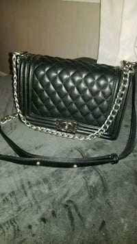 black leather quilted crossbody bag Tysons