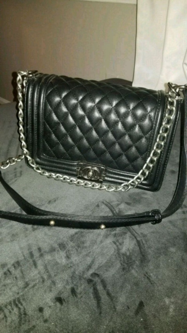 black leather quilted crossbody bag