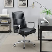 La-Z-Boy Furniture Ergonomic High-Back Bonded Leather Executive Chair - Black Mississauga