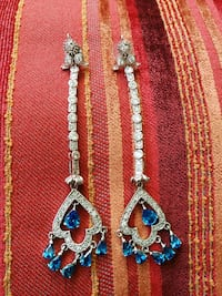 Silver and Blue Earrings. Surrey, V3W 3K6