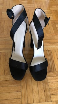 Pair of black leather open-toe heeled sandals Mississauga, L5B 4A8