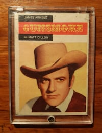 Topps 1958 Western TV Card #1, Gunsmoke - James Arness,   vintage non-sports card  good condition -  item is in a clear acrylic case  (Ref # Bx 10 eb/nonapps) Newmarket