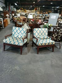 2 dark cherry wood chairs (used) Orlando, 32824
