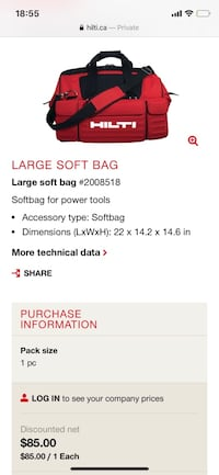 Hilti large soft bag for power tools in like new condition Surrey, V3T 5K1