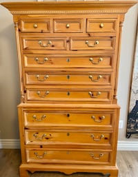 Thomasville highboy chest with solid brass pulls