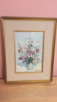 rectangular brown framed painting of white and pink flowers Hamilton, L9A