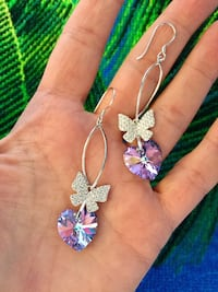 Lovely Sterling silver CZ butterfly with Amethyst Crystal Hearts long earrings / NEW Alexandria, 22311