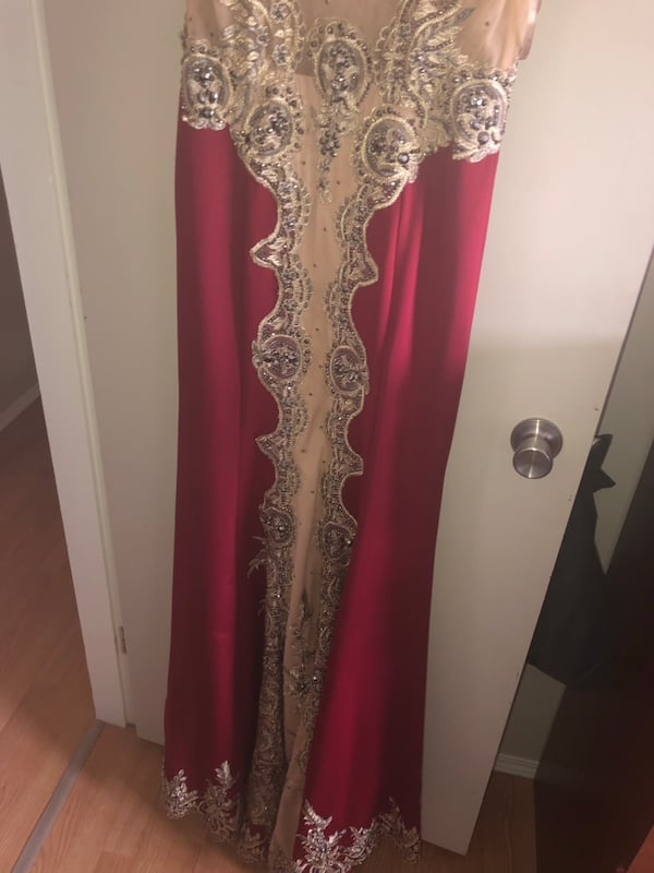 Mermaid red and gold grad dress 6