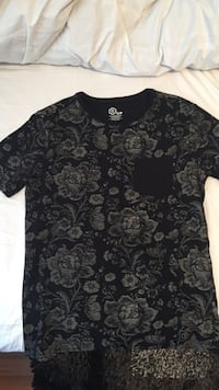 black and gray floral t-shirt