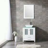 """Model 1 24"""" white vanity with drain and faucet kits brand new"""