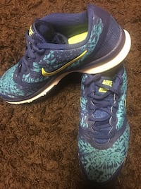 pair of teal-and-blue Nike running shoes
