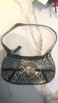 brown and black snake skin leather shoulder bag