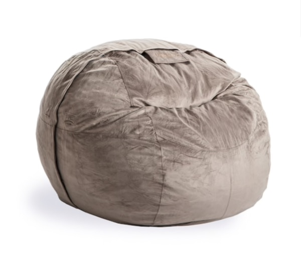 LoveSac Supersac with Taupe Padded Velvet Cover and Shrink Kit