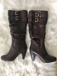 DARK BROWN REAL LEATHER BOOTS BOTTES VRAIE CUIR BRUNE size 7 Laval, H7P 1Z7