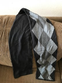 black and gray argyle textile scarf