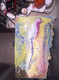 white, pink, and yellow abstract painting Milton, L9T 2B3